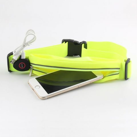 running belt bag with LED lighting USB rechargeable