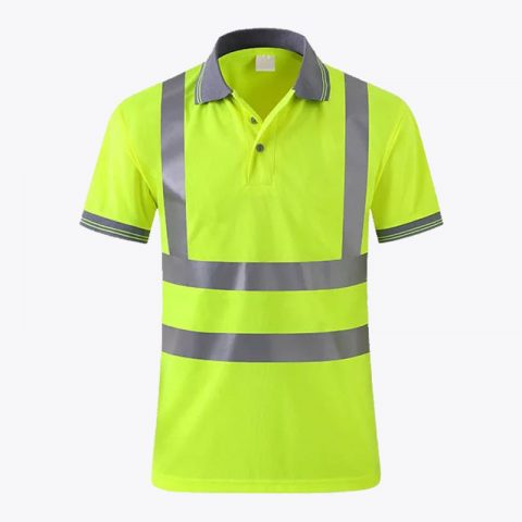 Reflective Neon Yellow Polo Shirts Hi Vis Short Sleeve Safety Shirt with Reflective Strips