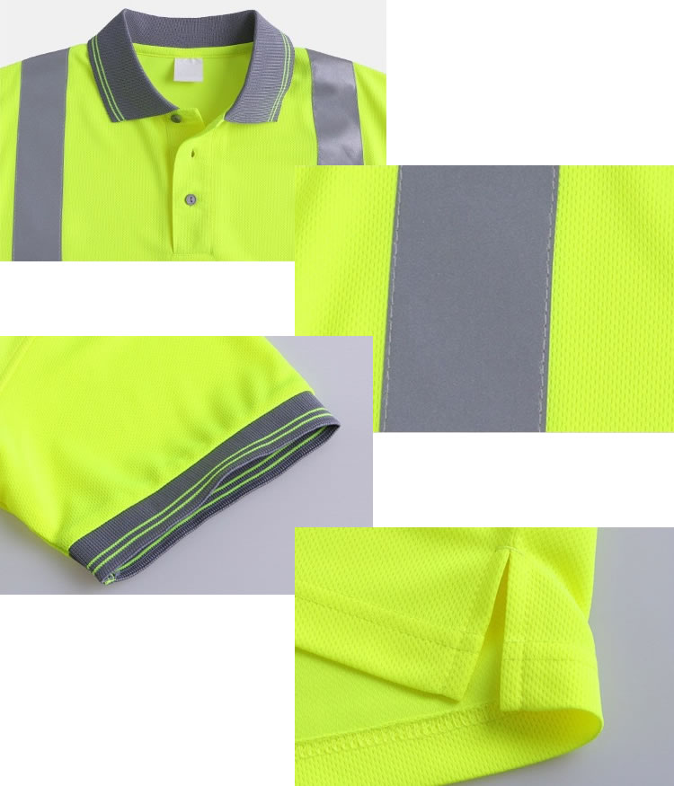 Reflective Neon Yellow Polo Shirts Hi Vis Short Sleeve Safety Shirt with Reflective Strips details