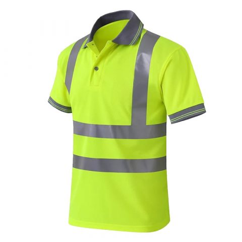 Reflective Neon Yellow Polo Shirts Hi Vis Short Sleeve Safety Shirt with Reflective Strips side