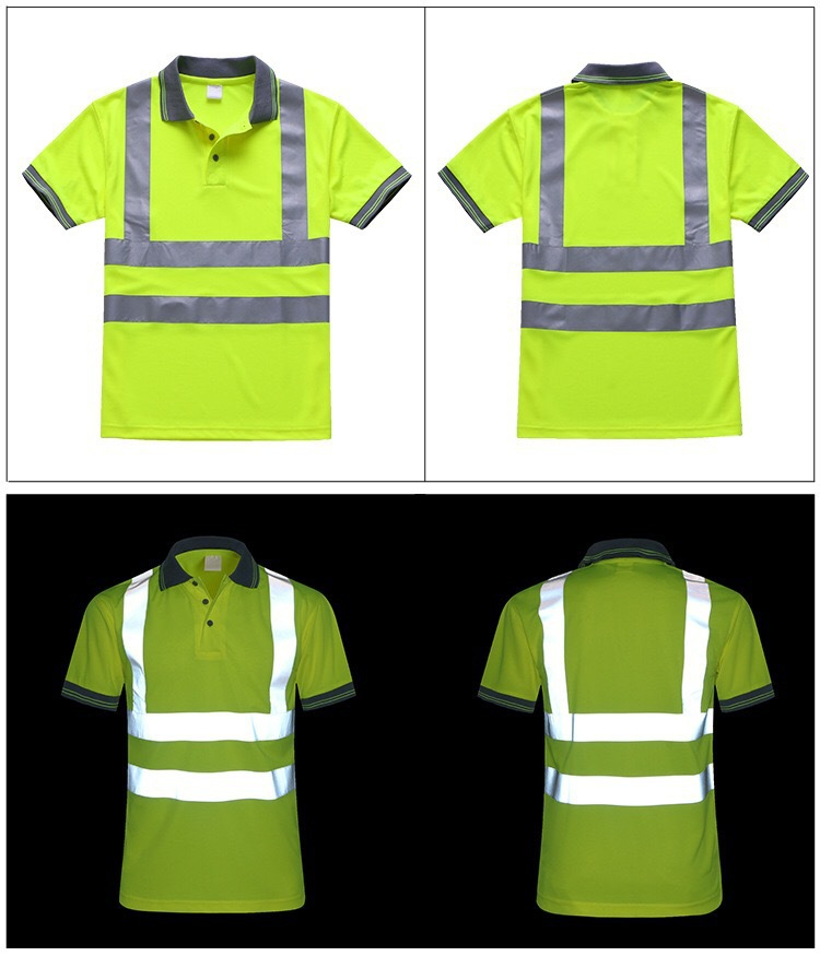 short sleeve polyester fluorescent safety polo shirt